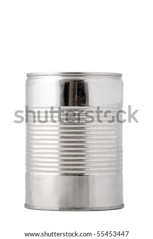 front view of metallic conserve on white background - stock photo