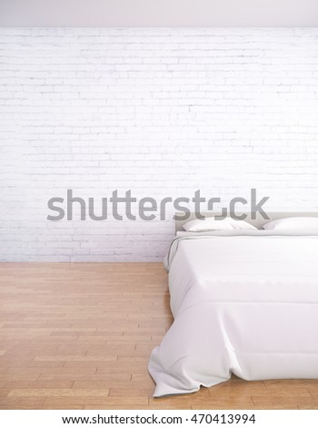 Front view of modern bedroom interior with blank brick wall and wooden floor. Mock up, 3D Rendering