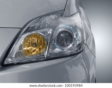 front view of modern silver car - stock photo