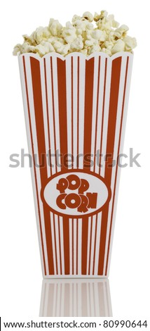 Front view of movie style popcorn box isolated on white background. - stock photo