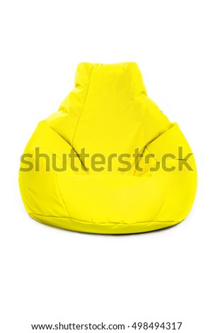 Front view of nice new and soft yellow beanbag isolated on white background