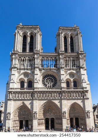 Front view of Notre Dame in Paris, France - stock photo