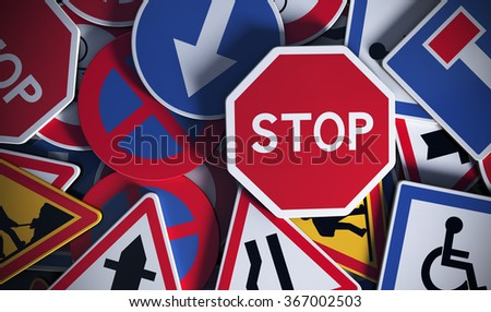 Front view of numerous french traffic road signs. Concept image for background