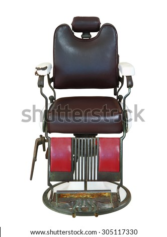 front view of old barber chair isolated on white background clipping path
