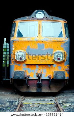 front view of old electric locomotive - stock photo