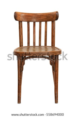 Front View Of Old Wooden Chair Isolated On White