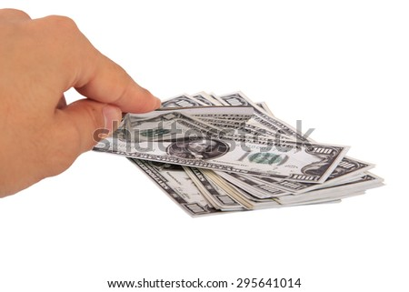 Front view of one hundred dollar banknotes, slicing with a knife on hand, isolated on white background. - stock photo