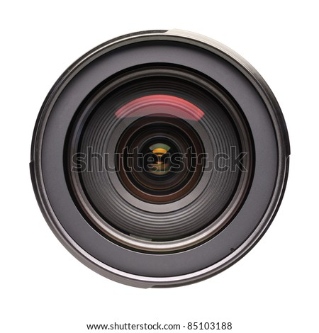Front view of photo lens isolated on white background