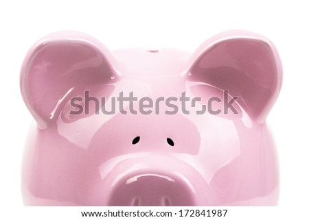 Front view of piggy bank isolated on white background