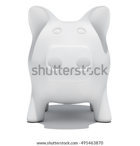 Front view of piggy bank isolated on white background. 3D rendering