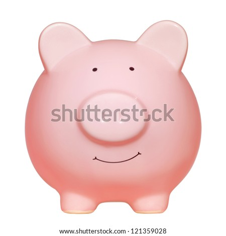 Front view of pink piggy bank isolated on white background