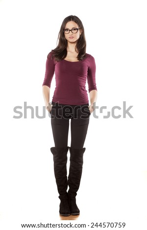 front view pretty young woman standing stock photo edit now