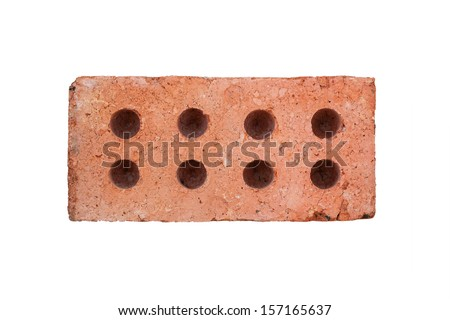 Front View Of Red Brick Isolated On White Background