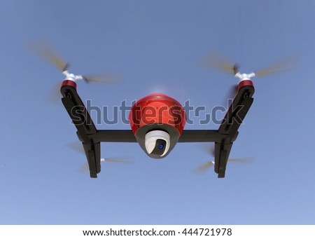 Front view of red drone with camera in the sky. 3D rendering image.