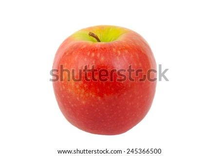 Front view of Red Pink Lady apple isolated on white - stock photo