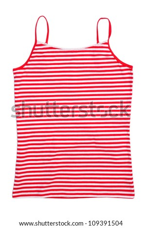 Front view of red stripped sleeveless shirt. Isolated on white - stock photo