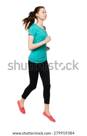 front view of running sport woman. beautiful girl in motion. Sportswoman froze jump. - stock photo