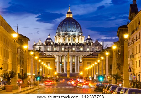 Front View of Saint Peter's Basilica,Vatican - stock photo
