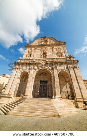 front view of San Nicola cathedral in Sassari, Italy