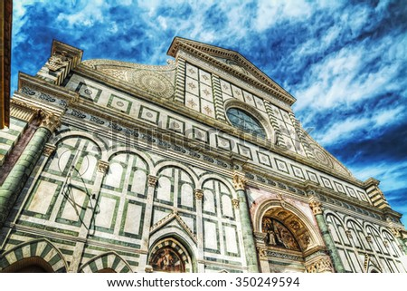 front view of Santa Maria Novella cathedral in Florence, Italy - stock photo