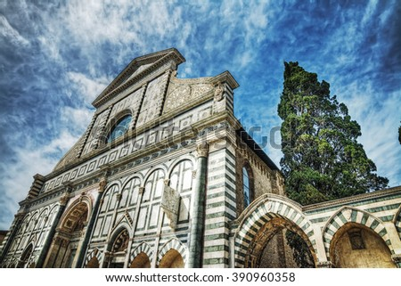 front view of Santa Maria Novella cathedral in Florence, Italy