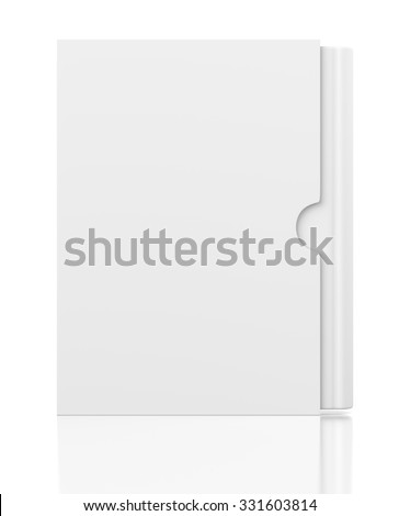 Front view of single blank book in cardboard box cover isolated on white background