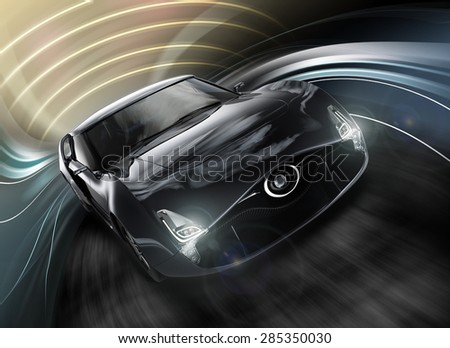 Front view of sports car with dynamic graphic motion blur. Original design with clipping path. - stock photo