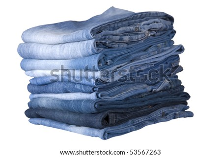 front view of stack, blue denim jeans