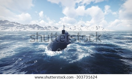 Front view of surfaced ballistic missile submarine at northern waters. Realistic 3D illustration was done from my own 3D rendering file. - stock photo