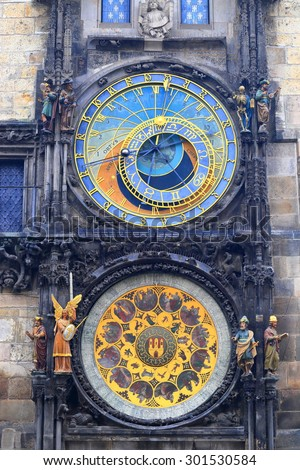 Front view of the colorful display of the Astronomical Clock, Prague, Czech Republic - stock photo