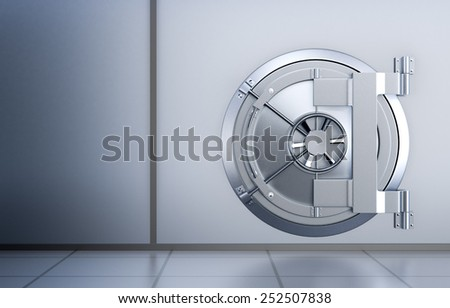 front view of the door of a bank vault (3d render) - stock photo