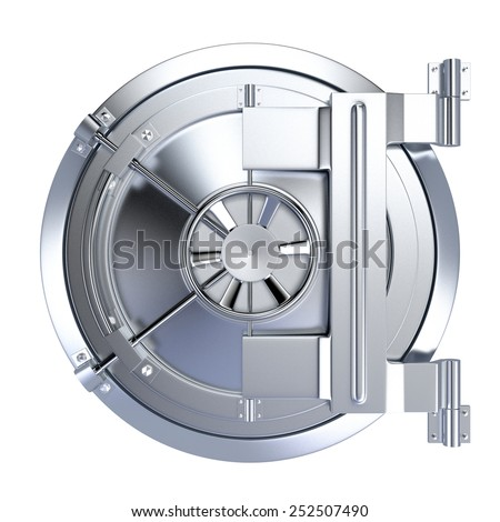 front view of the door of a bank vault on white background (3d render) - stock photo