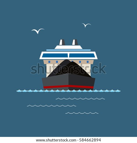 Cargo Ship Front View Cargo Sea 스톡 벡터 381367003 - Shutterstock