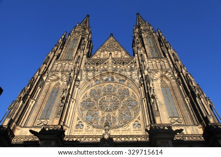 Front view of the main entrance to the St. Vitus Cathedral in Prague Castle in Prague, Czech Republic. Horizontal image - stock photo