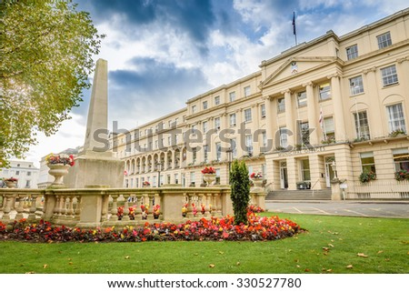 Front view of the Municipal Offices along the Promenade in Cheltenham - stock photo