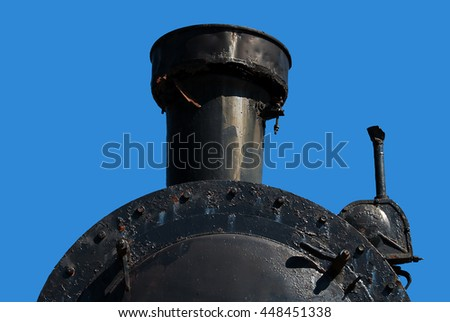 Front view of the old steam locomotive - stock photo