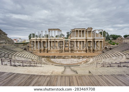 Front view of The Roman Theatre and proscenium in Merida, Extremadura, Spain, wide angle - stock photo