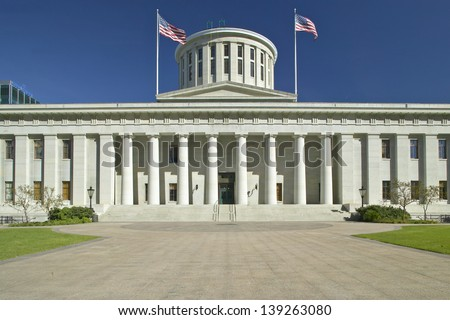 Front view of the State Capitol of Ohio in Columbus, OH - stock photo