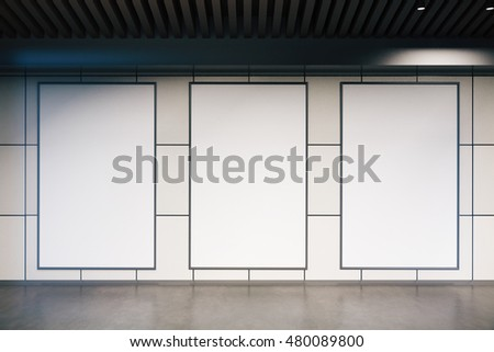 Front view of three empty billboards in tile interior. Mock up, 3D Rendering
