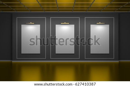 Front view of three large vertical posters on wall in a gallery. Golden edition. 3d illustration