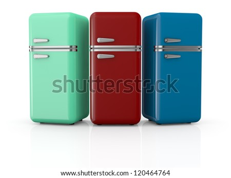 front view of three vintage fridges (3d render) - stock photo