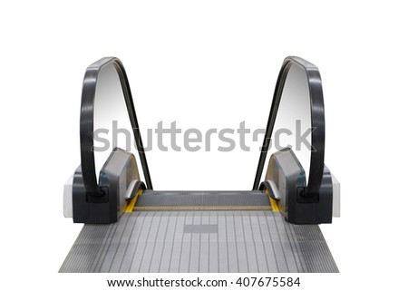 front view of track stair escalator with handrails for walking and going down (isolated with clipping path) - stock photo