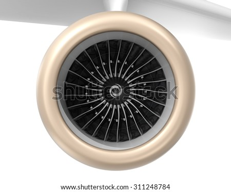 Front view of turbofan jet engine. 3D rendering image with clipping path. - stock photo