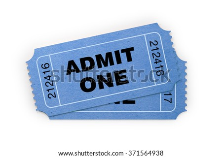 Front view of two general admission tickets. The ticket is blue in colour. It has a kraft paper like  look and a retro style.  Isolated on white background. Clipping path is included - stock photo