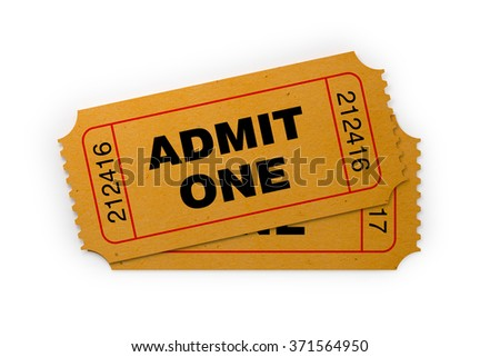 Front view of two general admission tickets. The ticket is yellow in colour. It has a kraft paper like  look and a retro style.  Isolated on white background. Clipping path is included - stock photo