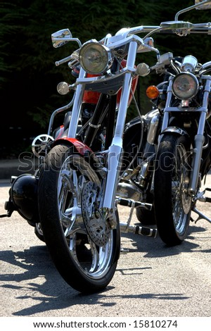 Front view of two motorcycles