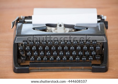 front view of typewriter on a desk