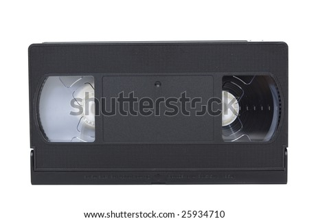 front view of vhs video tape isolated against white background - stock photo