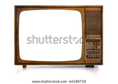 Front view of vintage TV with white-blank-screen - stock photo