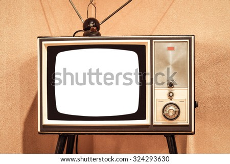 Front view of vintage TV with white blank screen to add text or image - stock photo